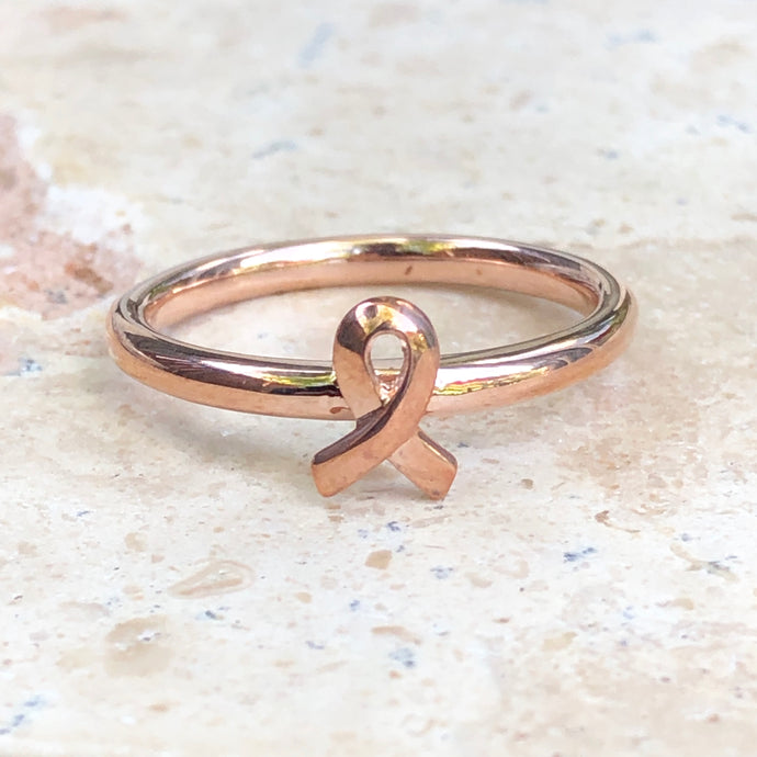 Rose Gold Plated Sterling Silver Breast Cancer Awareness Ribbon Ring, Rose Gold Plated Sterling Silver Breast Cancer Awareness Ribbon Ring - Legacy Saint Jewelry