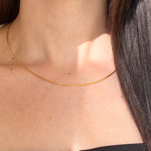 Load image into Gallery viewer, 14KT Yellow Gold Plated Silver Omega Neck Wire Necklace 1.25mm