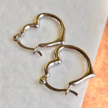 Load image into Gallery viewer, Sterling Silver Small Polished Heart Hoop Earrings 16mm, Sterling Silver Small Polished Heart Hoop Earrings 16mm - Legacy Saint Jewelry