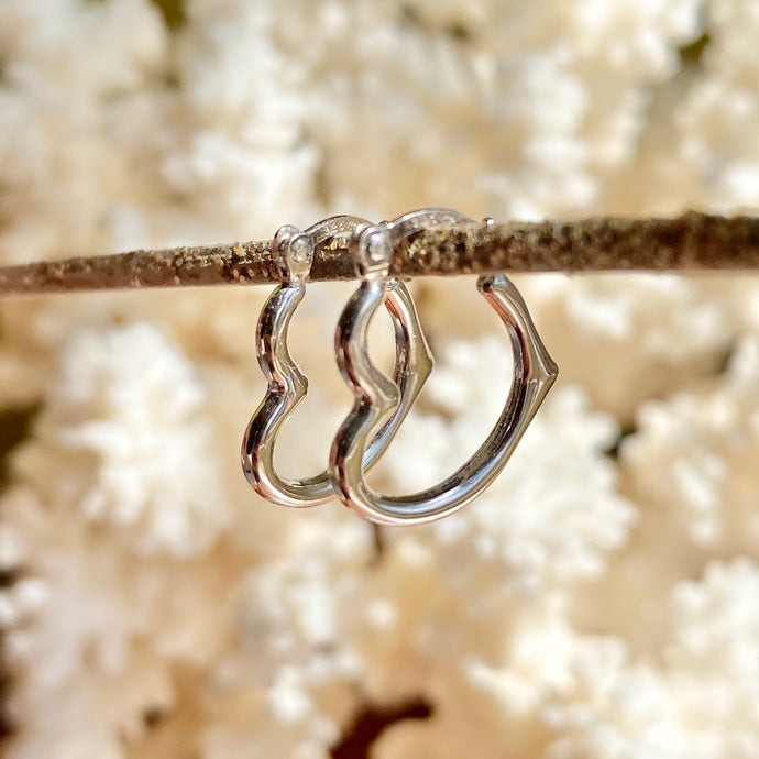 Sterling Silver Small Polished Heart Hoop Earrings 16mm, Sterling Silver Small Polished Heart Hoop Earrings 16mm - Legacy Saint Jewelry