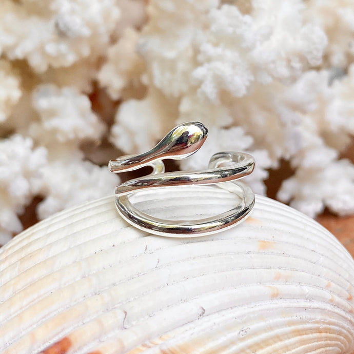 Sterling Silver Polished Snake Bypass Adjustable Ring