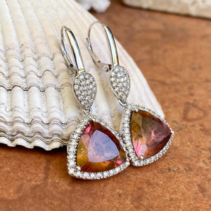 14KT White Gold Pave Diamond + Bi-Color Trillion Tourmaline Lever Back Earrings - Legacy Saint Jewelry
