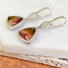 Load image into Gallery viewer, 14KT White Gold Pave Diamond + Bi-Color Trillion Tourmaline Lever Back Earrings - Legacy Saint Jewelry