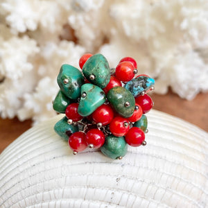 Sterling Silver Turquoise + Red Coral Bead Cluster Design Ring