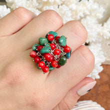 Load image into Gallery viewer, Sterling Silver Turquoise + Red Coral Bead Cluster Design Ring