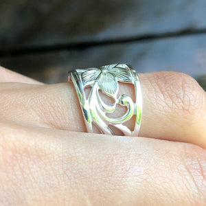 Sterling Silver Flower Cigar Band Ring, Sterling Silver Flower Cigar Band Ring - Legacy Saint Jewelry