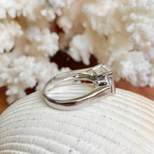 Load image into Gallery viewer, Sterling Silver Half Bezel + Channel Set CZ Ring