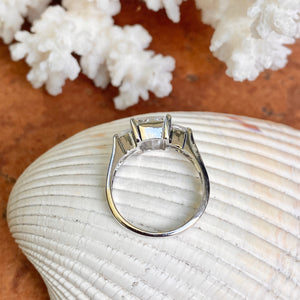 Sterling Silver Half Bezel + Channel Set CZ Ring