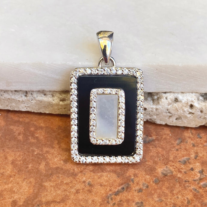 Sterling Silver Black Onyx, CZ + Mother of Pearl Pendant Slide
