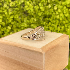 14KT Yellow Gold Fleur de Lis Cut-Out Cigar Band Dome Ring