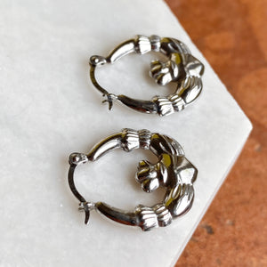 Sterling Silver Celtic Claddagh Hollow Small Hoop Earrings, Sterling Silver Celtic Claddagh Hollow Small Hoop Earrings - Legacy Saint Jewelry