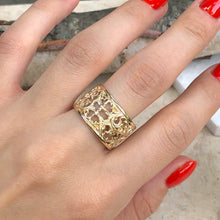 Load image into Gallery viewer, 14KT Yellow Gold Filigree Floral Design Cigar Band Ring, 14KT Yellow Gold Filigree Floral Design Cigar Band Ring - Legacy Saint Jewelry