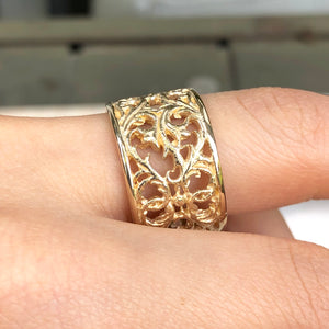 14KT Yellow Gold Filigree Floral Design Cigar Band Ring, 14KT Yellow Gold Filigree Floral Design Cigar Band Ring - Legacy Saint Jewelry