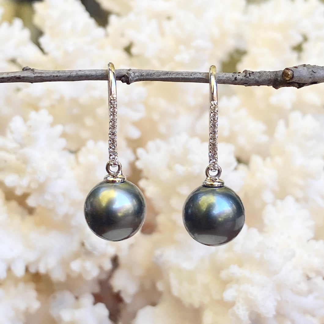 14KT White Gold Black Tahitian Pearl + Pave Diamond Dangle Earrings - Legacy Saint Jewelry