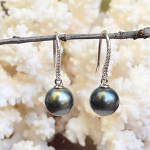 Load image into Gallery viewer, 14KT White Gold Black Tahitian Pearl + Pave Diamond Dangle Earrings - Legacy Saint Jewelry
