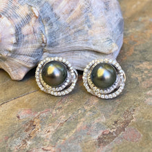 Load image into Gallery viewer, Estate 14KT White Gold Gray Tahitian Pearl + Pave Diamond Omega Back Earrings, Estate 14KT White Gold Gray Tahitian Pearl + Pave Diamond Omega Back Earrings - Legacy Saint Jewelry