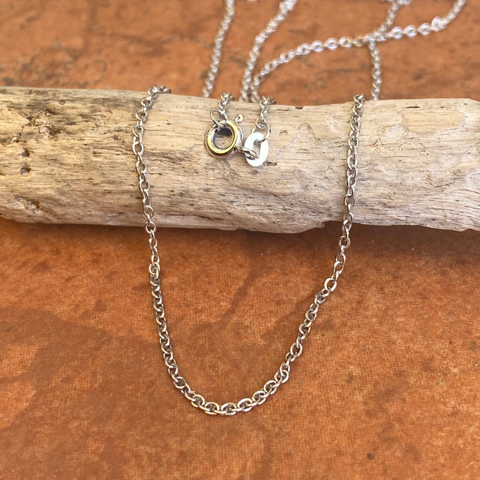 14KT White Gold Polished 1.5mm Cable Chain Necklace