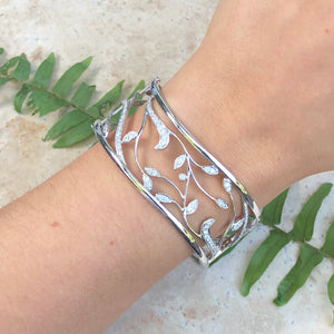 Estate 18KT White Gold Pave Diamond Vines Scroll Cuff Bracelet, Estate 18KT White Gold Pave Diamond Vines Scroll Cuff Bracelet - Legacy Saint Jewelry