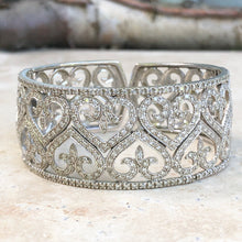 Load image into Gallery viewer, Estate 14KT White Gold Filigree Pave Diamond Heart Fleur de Lis Cuff Bracelet - Legacy Saint Jewelry