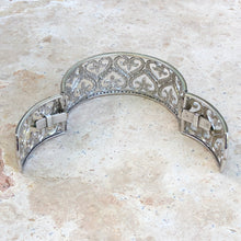 Load image into Gallery viewer, Estate 14KT White Gold Filigree Pave Diamond Heart Fleur de Lis Cuff Bracelet, Estate 14KT White Gold Filigree Pave Diamond Heart Fleur de Lis Cuff Bracelet - Legacy Saint Jewelry