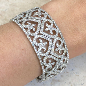 Estate 14KT White Gold Filigree Pave Diamond Heart Fleur de Lis Cuff Bracelet - Legacy Saint Jewelry