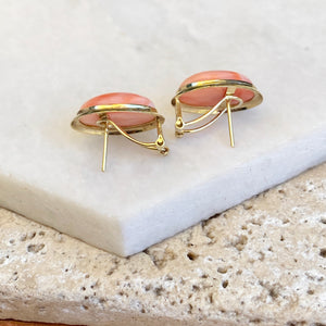 Estate 14KT Yellow Gold Oval Bezel Set Coral Omega Back Earrings
