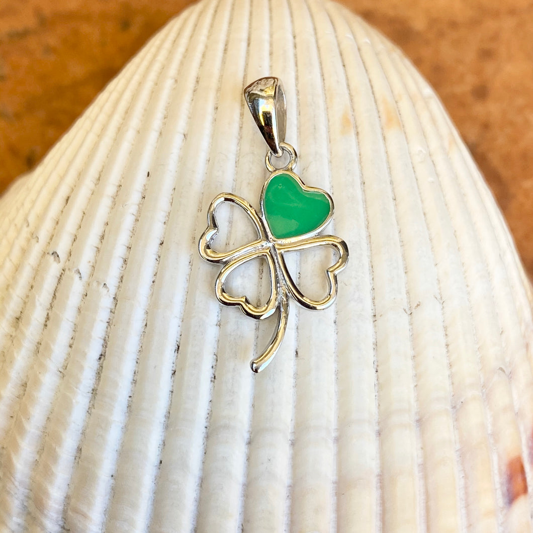 Sterling Silver Green 4-Leaf Clover Pendant Charm