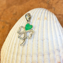 Load image into Gallery viewer, Sterling Silver Green 4-Leaf Clover Pendant Charm