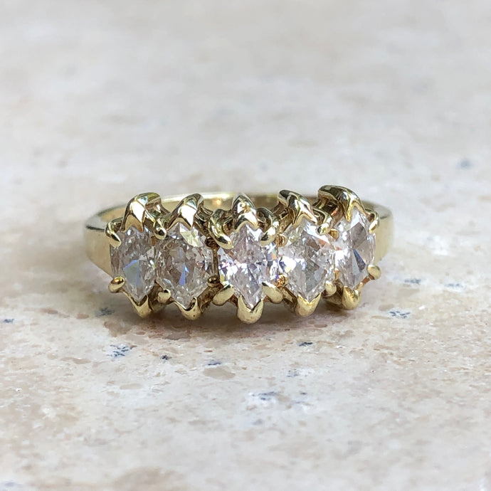 14KT Yellow Gold Duchess Cut Marquise Diamond Band Estate Ring Size 7, 14KT Yellow Gold Duchess Cut Marquise Diamond Band Estate Ring Size 7 - Legacy Saint Jewelry