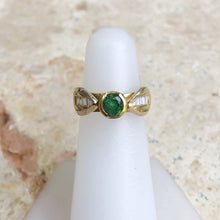 Load image into Gallery viewer, 18KT Yellow Gold Diamond Channel Set + Green Tsavorite Garnet Estate Ring Size 4.5, 18KT Yellow Gold Diamond Channel Set + Green Tsavorite Garnet Estate Ring Size 4.5 - Legacy Saint Jewelry