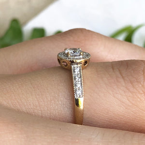14KT Yellow Gold Faceted Round European Cut Halo Diamond Ring Size 6.5, 14KT Yellow Gold Faceted Round European Cut Halo Diamond Ring Size 6.5 - Legacy Saint Jewelry