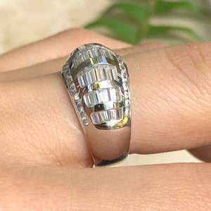 14KT White Gold Baguette + Round CZ Domed Ring Size 7, 14KT White Gold Baguette + Round CZ Domed Ring Size 7 - Legacy Saint Jewelry