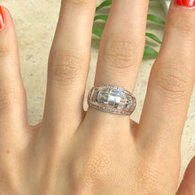 Load image into Gallery viewer, 14KT White Gold Baguette + Round CZ Domed Ring Size 7, 14KT White Gold Baguette + Round CZ Domed Ring Size 7 - Legacy Saint Jewelry