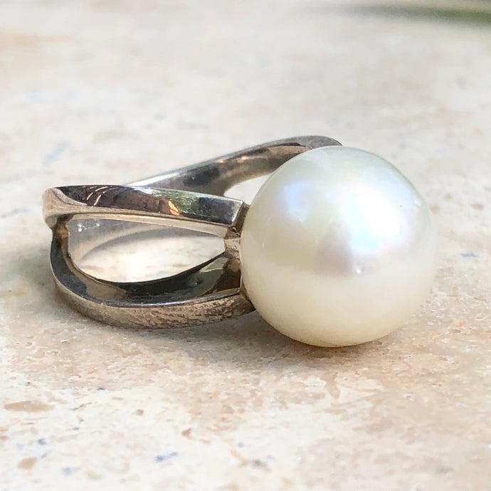 Sterling Silver + Genuine Paspaley South Sea Pearl Open Band Ring Size 7, Sterling Silver + Genuine Paspaley South Sea Pearl Open Band Ring Size 7 - Legacy Saint Jewelry
