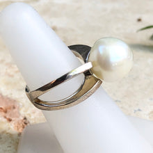 Load image into Gallery viewer, Sterling Silver + Genuine Paspaley South Sea Pearl Open Band Ring Size 7, Sterling Silver + Genuine Paspaley South Sea Pearl Open Band Ring Size 7 - Legacy Saint Jewelry