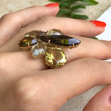 Load image into Gallery viewer, 14KT Yellow Gold Smokey Lime Quartz Citrine + Rutilated Quartz Gemstone Ring, 14KT Yellow Gold Smokey Lime Quartz Citrine + Rutilated Quartz Gemstone Ring - Legacy Saint Jewelry