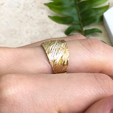 Load image into Gallery viewer, 14KT Yellow Gold Wide Artistic Design Cigar Diamond-Cut Band Ring, 14KT Yellow Gold Wide Artistic Design Cigar Diamond-Cut Band Ring - Legacy Saint Jewelry