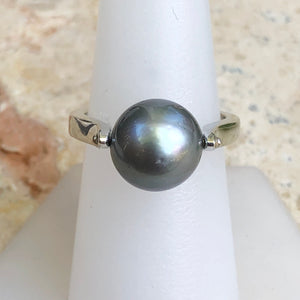 14KT White Gold + Gray Tahitian pearl Ring Size 8, 14KT White Gold + Gray Tahitian pearl Ring Size 8 - Legacy Saint Jewelry