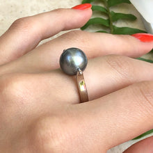 Load image into Gallery viewer, 14KT White Gold + Gray Tahitian pearl Ring Size 8, 14KT White Gold + Gray Tahitian pearl Ring Size 8 - Legacy Saint Jewelry