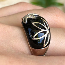 Load image into Gallery viewer, Sterling Silver Black Onyx + Pave Diamond Floral Dome Ring
