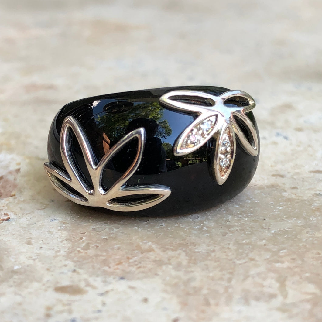 Sterling Silver Black Onyx + Pave Diamond Floral Dome Ring