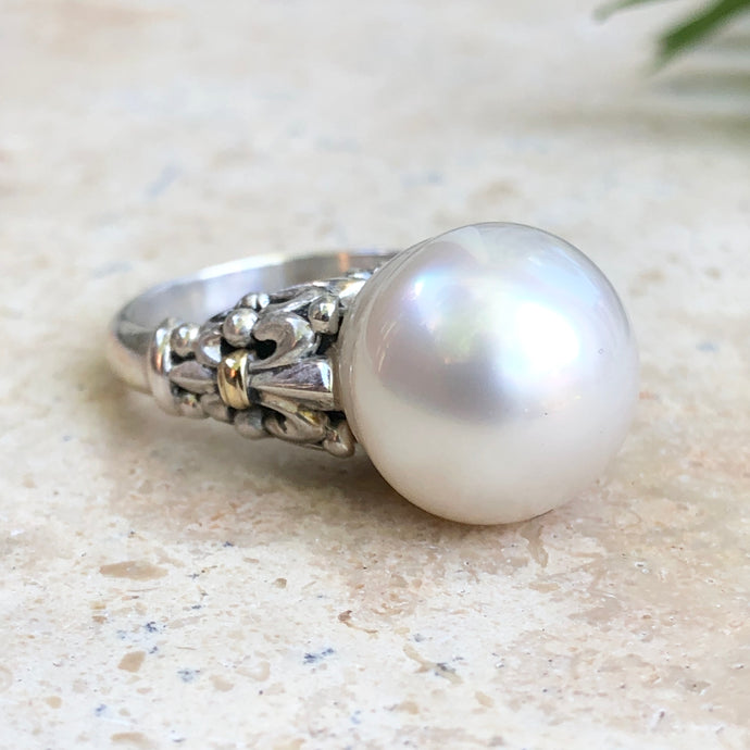 14KT Yellow Gold, Sterling Silver + Paspaley South Sea Pearl Fleur de Lis Ring - Legacy Saint Jewelry