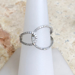 14KT White Gold Pave Diamond Open Loop Circles Ring Size 7, 14KT White Gold Pave Diamond Open Loop Circles Ring Size 7 - Legacy Saint Jewelry
