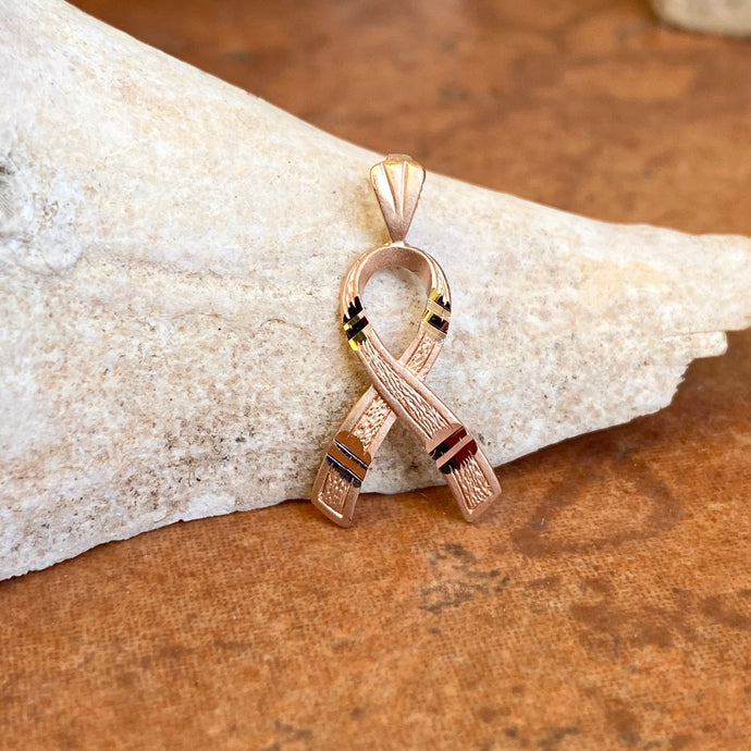14KT Rose Gold Diamond-Cut Breast Cancer Awareness Ribbon Pendant Charm