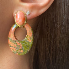 Load image into Gallery viewer, Estate 14KT Yellow Gold Oval Bezel Set Coral Omega Back Earrings