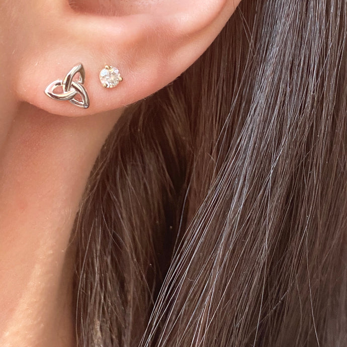 Sterling Silver Mini Celtic Knot Stud Earrings
