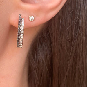 Estate 14KT White Gold .55 CT Pave Black + Diamonds Half Hoop Earrings - Legacy Saint Jewelry