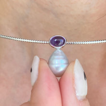 Load image into Gallery viewer, 14KT White Gold Cabochon Amethyst + 11mm Paspaley South Sea Pearl Pendant Slide #3