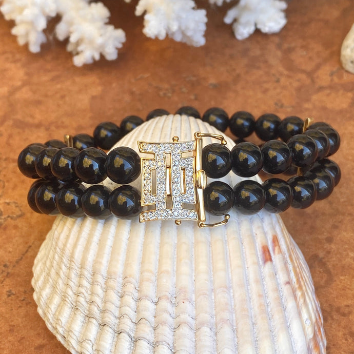 Estate 14KT Yellow Gold Black Onyx + .08 CT Pave Diamond Double Row Beaded Bracelet - Legacy Saint Jewelry