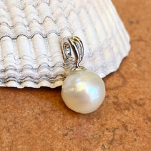 Load image into Gallery viewer, Sterling Silver 12mm Paspaley South Sea Pearl Omega Clip Enhancer Pendant